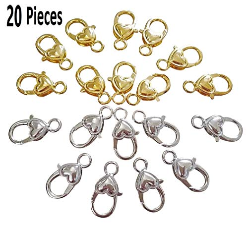 EFK-II Supply Package of 20 Pieces Heart Shape Lobster Claw Clasps DIY Jewelry (Gold+Silver Mixed 25mm x 12mm)