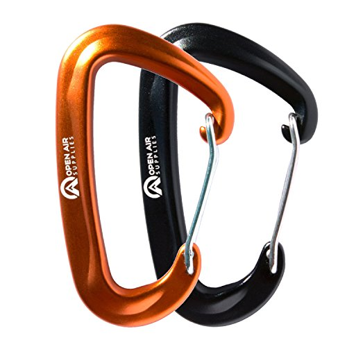 Open Air Supplies - Aluminum Wiregate Carabiners 12kn Rating 2-Pack