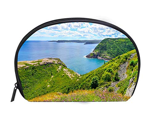 - Half-moon Cosmetic Bag Historic site Fort Amherst St Johns Newfoundland Cape Spear background Travel Cosmetic Case Luxury Makeup Artist Bag