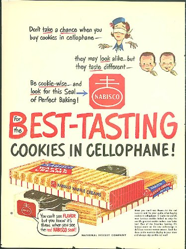Best-tasting cookies in cellophane! Nabisco Waffle Creams ad 1950