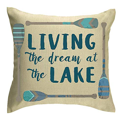 - Jimrou Throw Pillow Cover 18x18inches Festival Gifts Summer Living The Dream at The Lake Hand Painted Wood Oars Holiday Cotton Linen Decorative Home Sofa Chair Square Throw Pillow Case Cushion Cover