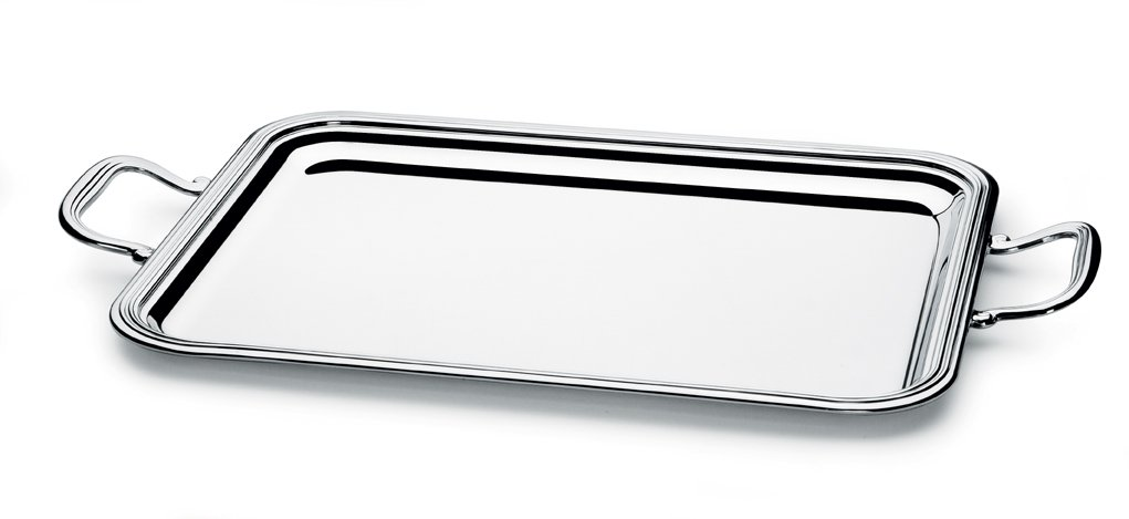 Chinelli Rectangular English Tray with Handles, Size-35 x 27 cm, Brass, Multi-Colour, One