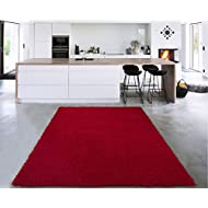 """Sweet Home Stores Cozy Shag Collection Solid Shag Rug, 5'3"""" X 7', Red Color"""