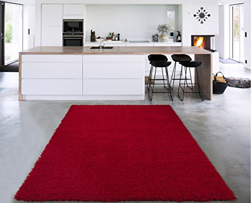 Sweet Home Stores Cozy Shag Collection Solid Shag Rug, 3'3 X 4'7, Red Color (Red Area Shag Rugs)