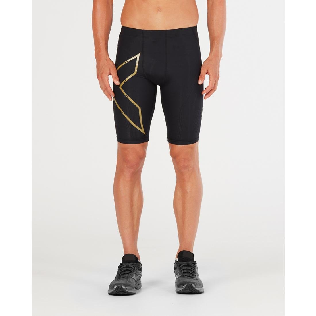 (Extra Small, Black/Gold) - 2XU Men's MCS Cross Training Compression Shorts B079P5FL9Y