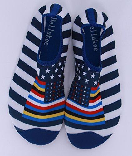 Dellukee Frauen Männer Wasser Schuhe Beach Schwimmen Aqua Schuhe Pool Swim Yoga Schuhe Flagge