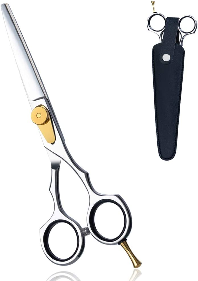 "Professional 6"" Hair Scissors , Ergonomic Barber Hair Cutting Shears-Japanese 440C Stainless Steel- with Case for Women and Men"