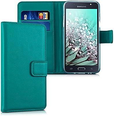 kwmobile Funda para Samsung Galaxy J5 (2015) - Carcasa de Cuero sintético - Case con Tapa y Tarjetero en petróleo