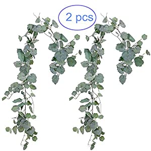 NANSSY 2 Pack Artificial Gray Greenery Garland Faux Silk Begonia Leaves Vines Wreath for Wedding Greenery, Party, Home Decor, Crowns Wreath ( Begonia Leaves) 1