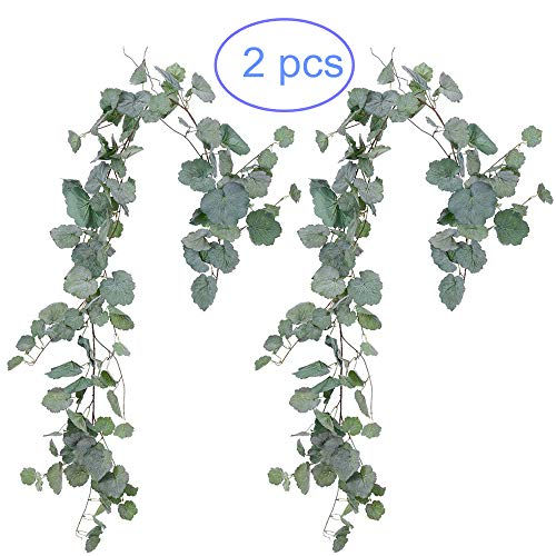 Begonia Leaves - NANSSY 2 Pack Artificial Gray Greenery Garland Faux Silk Begonia Leaves Vines Wreath for Wedding Greenery, Party, Home Decor, Crowns Wreath ( Begonia Leaves)