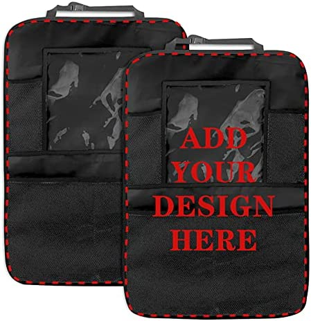 Custom 2 Pack Car Backseat Organizer, Add Your Own Personalized Text Name Image Travel Accessories Organizer Back Seat Protector with Touch Screen Tablet Holder, Kick Mat with 4 Storage Pockets
