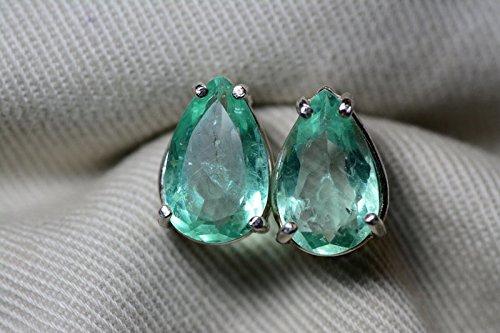 - 4.05 Carat Natural Colombian Pear Cut Emerald Stud Earrings In Sterling Silver Appraised
