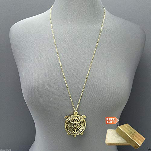 Antique Gold Chain Magnifying Glass Turtle Design Pendant Necklace Set For Women + Gold Cotton Filled Gift Box for Free