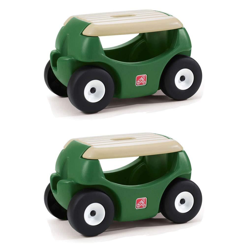 Step2 Durable Plastic Mobile Yard Cart Storage Garden Hopper w/Work Seat, Green (2 Pack)