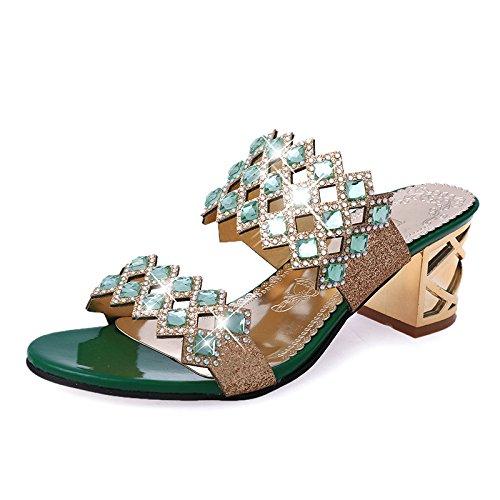 Cutout Coréenne Summer GUANG New Pantoufles Femmes Femmes Pantoufles Fantaisie Green Femmes pour Hauts Diamant pour à XING Chaussures 40 Green pour Strass 39 Talons Sandales XYIxx6