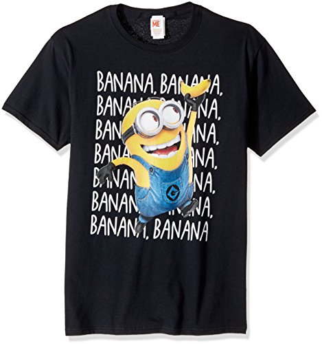Despicable Me Men's Minions Dave Soaring Banana Dance Funny Graphic Tee, Black, Large