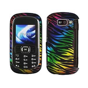 Black Blue Green Purple Pink Colorful Rainbow Zebra Rubberized Snap on Design Hard Case Faceplate for Verizon Lg Octane Vn530