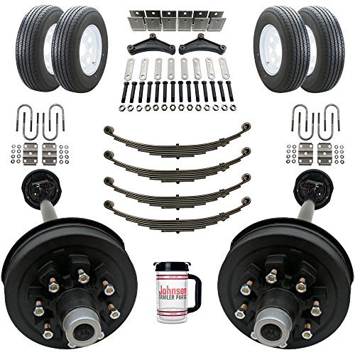 Rockwell American Tandem 7,000 lb Electric Brake Trailer Axle Kits with Wheels and Tires - 8 Lug 6.5
