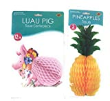 Beistle Luau Party Decorations Centerpieces (Bundle Pig and Two Pineapples)