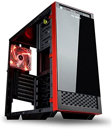 In Win vetro 503-Case per torre media, colore: rosso/nero