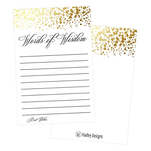 50 Gold Words of Wisdom Advice Cards, Use As Graduation Advice Cards, Marriage or Wedding Advice Cards, Guest Book Alternative, Bridal or Baby Shower Party Games, Boy or Girl Baby Predictions