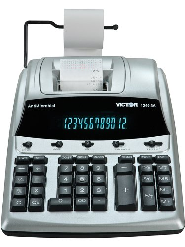 1240-3A Antimicrobial Desktop Calculator, 12-Digit Fluorescent, 2-Color Printing by Victor