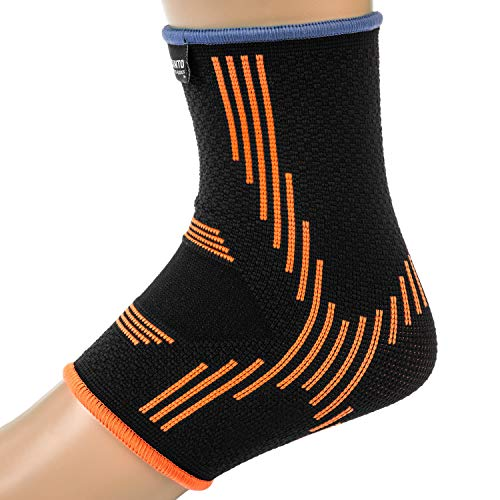 Kunto Fitness Ankle Brace Compression Support Sleeves (Pair) for Injury Recovery, Joint Pain, Swelling, Plantar Fasciitis & Achilles Tendon (Medium) by Kunto Fitness Products (Image #2)