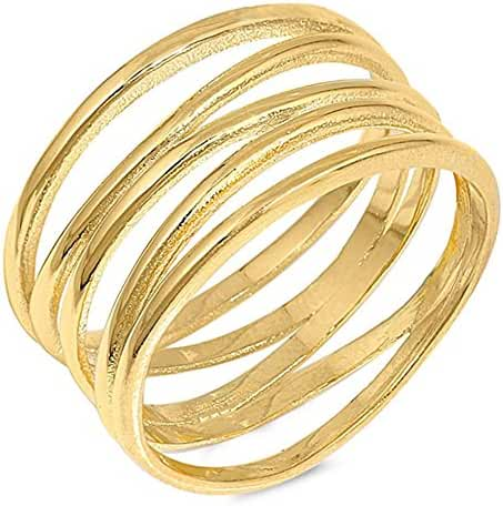 Sterling Silver Yellow Gold Plated Solid Modern Multi Band Ring Sizes 4-12