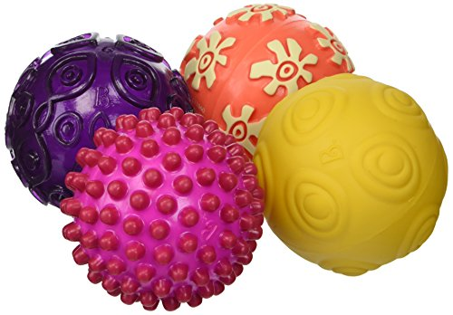 B. Toys - Oddballs - 4 Sensory Toy Balls in Warm Colors for Toddlers Aged 6 Months +