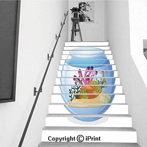 Self-Adhesive Stair Riser Decal - Stair Stickers Decals Wallpaper for Walls Kitchen Bathroom Stair Decals Home Decorations,13 PCS,Fish Tank