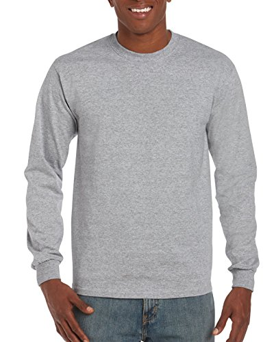 Gildan Men's Ultra Cotton Jersey Long Sleeve Tee, Sport Grey, (Cotton Jersey Sport Shirt)