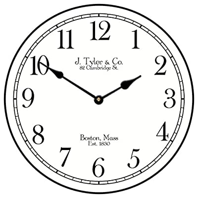 "Black Tie Wall Clock, Available in 8 Sizes, Most Sizes Ship 2-3 Days, Whisper Quiet. - LIFETIME  WARRANTY.  We will replace your mechanism (not the entire clock) for as long as you own it. Mechanisms are tested before mailing, however, if it is damaged in shipping we will mail you a replacement. Some assembly is required to replace the mechanism. Our contact info is on clock back. (The warranty is through us not Amazon). SILENT QUARTZ MECHANISMS! Our clocks are very quiet. No annoying ticking!! Our clocks sit flat against the wall and do not wobble. The mechanisms are as recessed as possible, which makes for a nicely finished product. HANDMADE IN AMERICA BEAUTIFUL **PRINTED** FACE ON SOLID PIECE of 1/2"" MDF WOOD PRODUCT. The face is NOT a sticker. It is printed directly on the wood. Our clocks feel solid because of the thicker mdf wood. Our edges are nicely rounded. It takes us just a few days to make your clock. We are usually much faster than is listed. - wall-clocks, living-room-decor, living-room - 51rpW45xC5L. SS400  -"