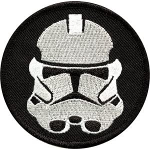 Star Wars - Round Black & White Stormtrooper Emblem Logo - Embroidered Iron On or Sew On Patch