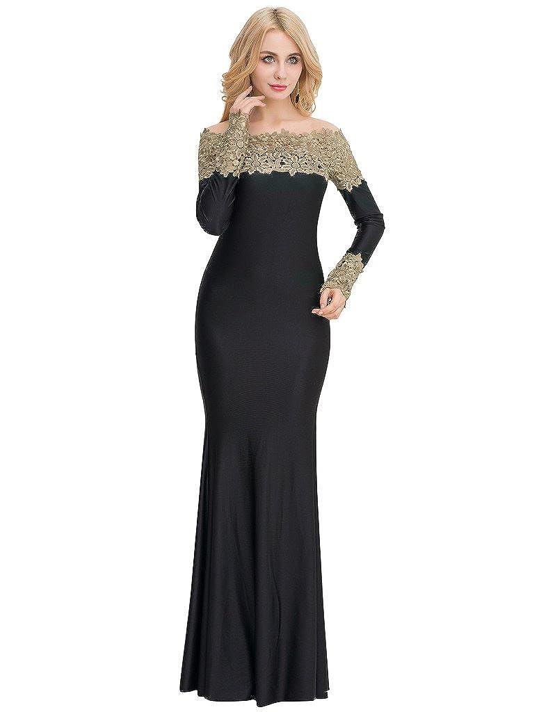 d30ff7ed55d Amazon.com  ohyeah Women s Dress Boat Neck Long Sleeve Lace Evening Gown  Maxi Dress  Clothing