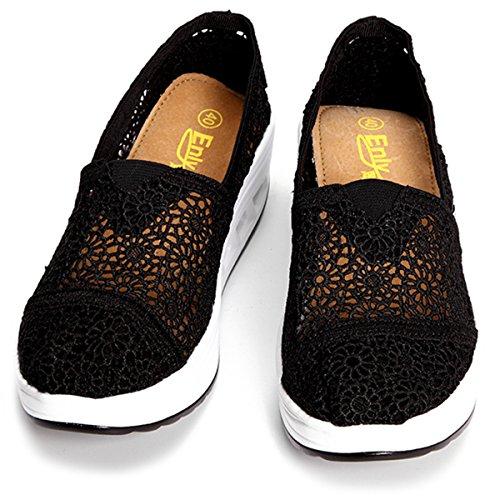 Sandali Con Ginnastica Scarpe Plateau Comode Donna Camminata Casual Summer Da Mocassini Gracosy Mesh Moda Zeppa Nero Sneaker Platform w7xqq