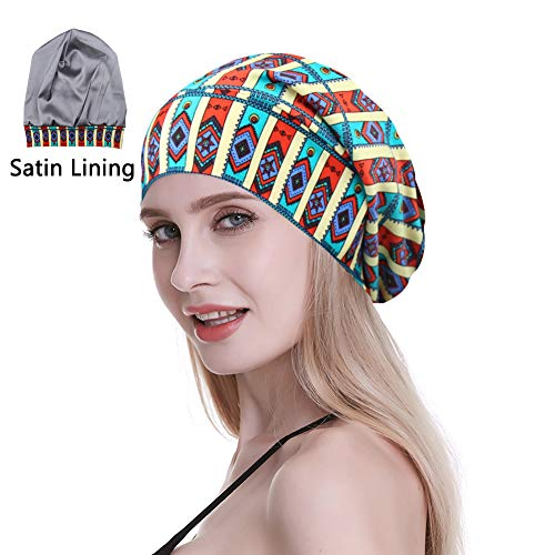 FocusCare Satin Lined Sleep Slouchy Cap Curly Girl Slap Headwear Gifts for Fr...