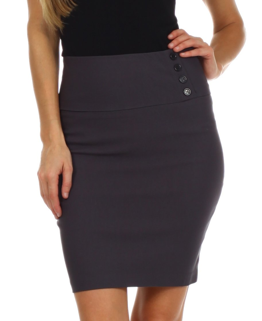 LSHipButton2621 Above the Knee Stretch Pencil Skirt with Four Button Detail - Charcoal / S