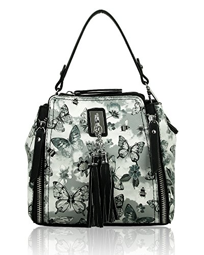 Redfox Women's Small Floral Butterfly Print Tassel Shoulder Bag 20cm x...
