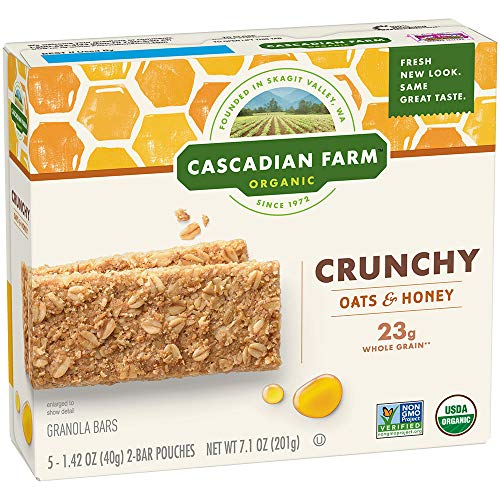 (Cascadian Farm Organic Crunchy Granola Bar non-GMO Oats and Honey 10 Bars In 5 - 1.42 oz 2-Bar Pouches)