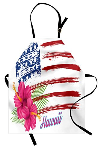 Lunarable Hawaiian Apron, American Flag Theme Stars and Stripes Hibiscus Leaves Hawaii USA Patriotic Art, Unisex Kitchen Bib Apron with Adjustable Neck for Cooking Baking Gardening, Fuchsia Navy