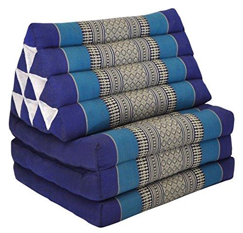 Thai mattress 3 folds with triangle cushion, blue, relaxation, beach, pool, meditation garden (82203) by Wilai GmbH
