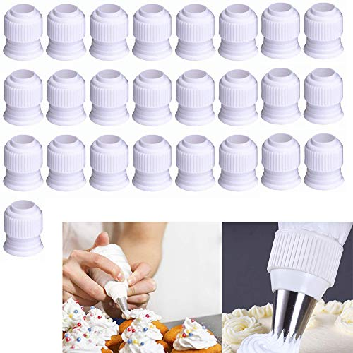 Luckycivia 25 Pack Plastic Standard Couplers Cake Decorating Coupler Pipe Tip Coupler for Icing Nozzles