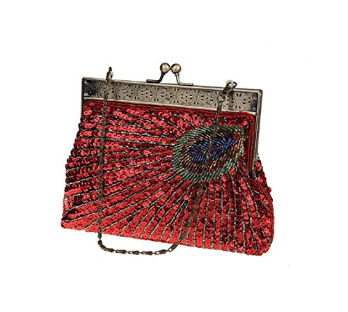ADOO Vintage Clutch Teal Peacock Unusual Antique Beaded Sequin Evening Handbag Sunburst Navy and Turquoise Eye Catching Purse Red