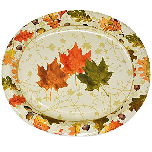 50 Thanksgiving Paper Plates Oval Large Disposable 10
