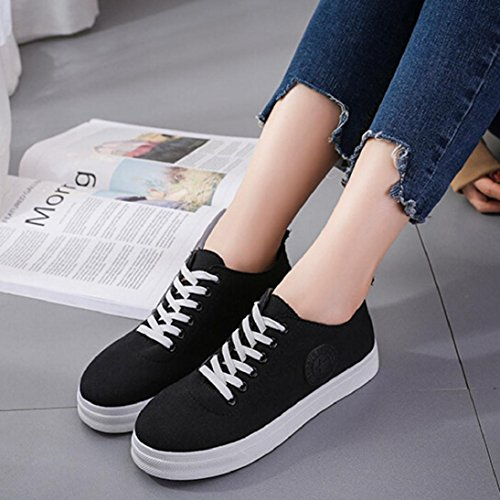 Shoes Flat Fheaven Boat Shoes Women Lace On Slip Black up Comfort Flats Casual Canvas Sneakers wCgtCq4