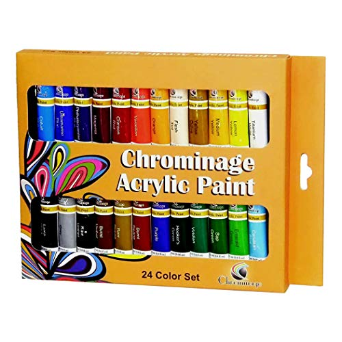 Chrominage Acrylic Paint - 24 Color Set - Bright, Full Bodied and Flexible Art Paints for Artists, Crafters, Students and Kids - Use on Canvas, Coated Paper, Wood and Fabric