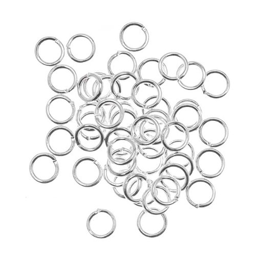 Beadaholique JR/040X6S 50-Piece Open Jump Rings, 6mm, 18-Gauge, Silver ()