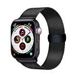 LUNANI Compatible for Apple Watch Band 42mm 44mm, Stainless Steel Mesh Sport Wristband Loop with Adjustable Magnet Clasp for iWatch Series 1 2 3 4, Black
