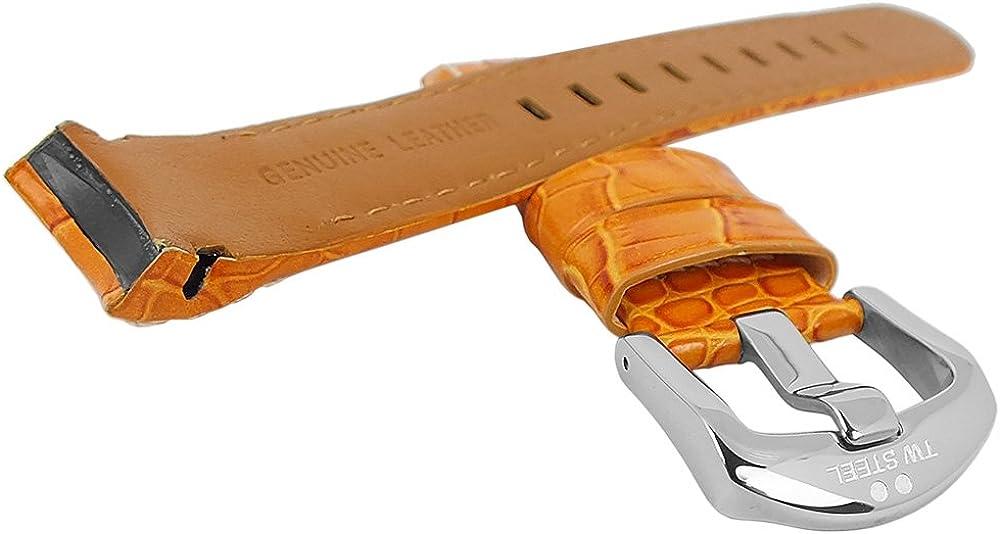 TW Steel Grandeur twb114 ersatzband 22 mm Cuir Orange Avec Boucle Ardillon et logo