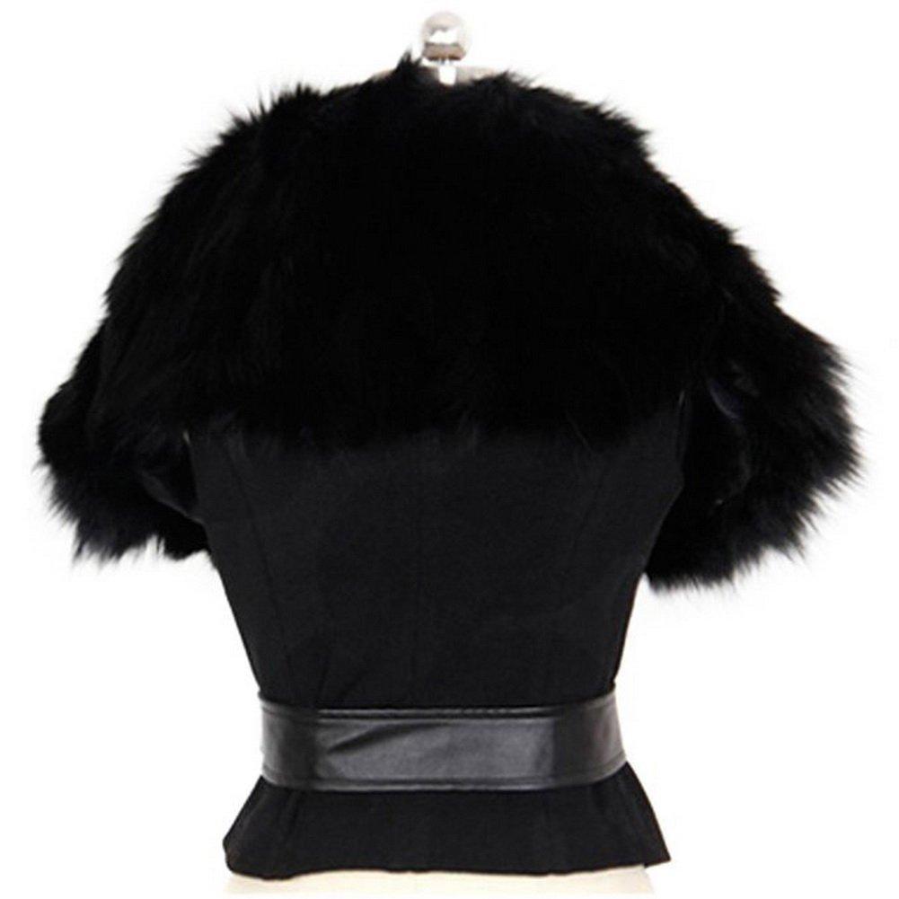 Vogholic Women's Slim Sleeveless Faux Fur Belt Cape Coat Waistcoat Outerwear VOG-00600